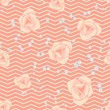 Cream pink roses and chevron seamless pattern. Stock Photo
