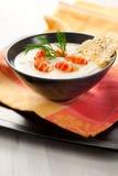 Cream of potato and celeriac soup royalty free stock photo