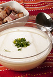 Cream potato soup with herbs Stock Photo