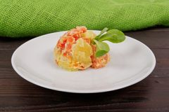 Cream potatoes with vegetables on a table Royalty Free Stock Photos
