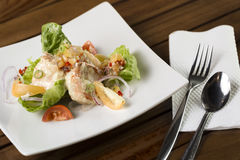 Cream prawn. A plate of delicate creamy prawn ready to be served Royalty Free Stock Photos