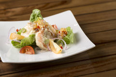 Cream prawn. A plate of delicate creamy prawn ready to be served Royalty Free Stock Images