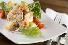 Cream prawn. A plate of delicate creamy prawn ready to be served Stock Photography