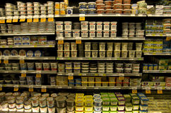 Cream products in grocery store Royalty Free Stock Photo