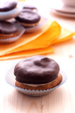 Cream puff. With chocolate (vertical Stock Images