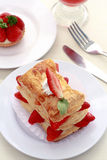 Cream Puff. Fresh Cream puff with Strawberry on a plate Stock Photography