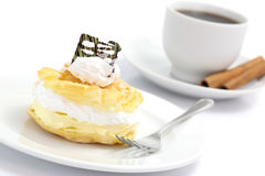 Cream puff cake Dessert and coffee Royalty Free Stock Photo