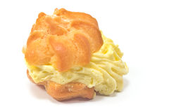 Cream Puff. Isolated on white Stock Photo