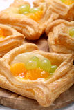 Cream puff pastry with fruit Stock Images