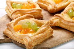 Cream puff pastry with fruit Stock Image