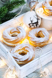 Cream puff rings (choux pastry) Stock Photos