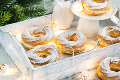 Cream puff rings (choux pastry) Stock Image