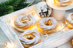Cream puff rings (choux pastry) Royalty Free Stock Photos