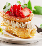 Cream puff with strawberries Stock Photo