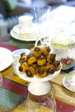 Cream Puff Tower Croquembouche. Mini Cream Puff Tower Croquembouche traditional french dessert Stock Image