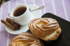 Cream puffs with espresso Royalty Free Stock Photos