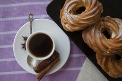 Cream puffs with espresso Royalty Free Stock Photography
