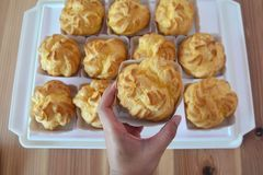 Cream puffs filled with pastry cream , Choux Cream Stock Photos