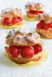 Cream Puffs with srawberries Royalty Free Stock Photos