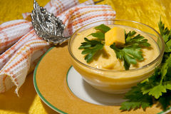 Cream of pumpkin and shrimp Stock Images
