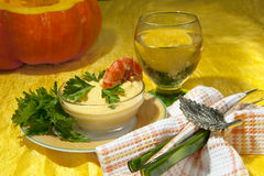 Cream of pumpkin and shrimp Royalty Free Stock Photography