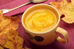 Cream of pumpkin soup. In cup with fall leaves Royalty Free Stock Photography