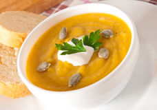 Cream of pumpkin soup Royalty Free Stock Photo