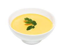 Cream of pumpkin soup, isolated Royalty Free Stock Photos