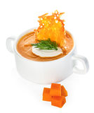 Cream of pumpkin soup with parmesan crisps Stock Photography