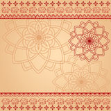 Cream and red henna mandala  and elephant background Stock Image