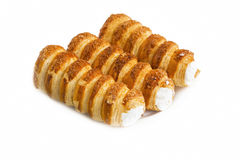 Cream rolls pastry isolated Stock Images