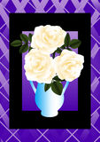 Cream rose in a blue vase Royalty Free Stock Photos