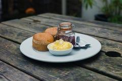 cream scones варенья Стоковая Фотография RF