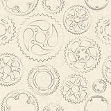 Cream seamless pattern with gears and cogs. Vintage seamless pattern with black outlined gears and cogs on bright cream background. Retro vector illustration for Stock Photos