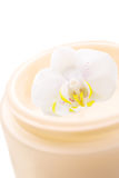 Cream for sensitive skin with orchid Royalty Free Stock Images