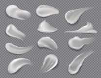 Cream smears. Realistic white cosmetic gel, creamy toothpaste blobs on transparent background. Vector skincare lotion stock illustration