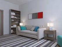 Cream sofa in white room Stock Photo