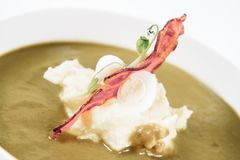 Cream of sorrel and green vegetables soup Stock Photos