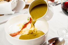 Cream of sorrel and green vegetables soup Royalty Free Stock Image