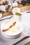 Cream of sorrel and green vegetables soup Royalty Free Stock Photos