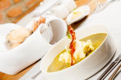 Cream of sorrel and green vegetables soup Stock Photography