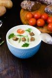 Cream soup of asparagus Stock Photos