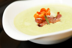 Cream soup with bacon Stock Images