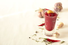 Cream soup beet with caramelized garlic Royalty Free Stock Images