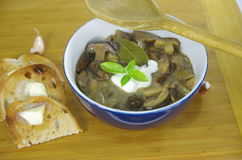 Cream soup with boletus Royalty Free Stock Photo