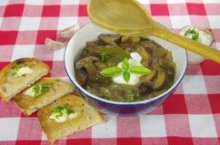 Cream soup with boletus Stock Photo