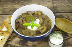 Cream soup with boletus Royalty Free Stock Photography