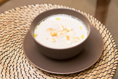 Cream soup in bowl. Tasty, delicious. White Royalty Free Stock Images