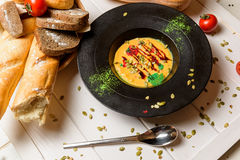 Cream soup and bread Royalty Free Stock Photo