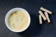 Cream soup and bread croutons Royalty Free Stock Photo